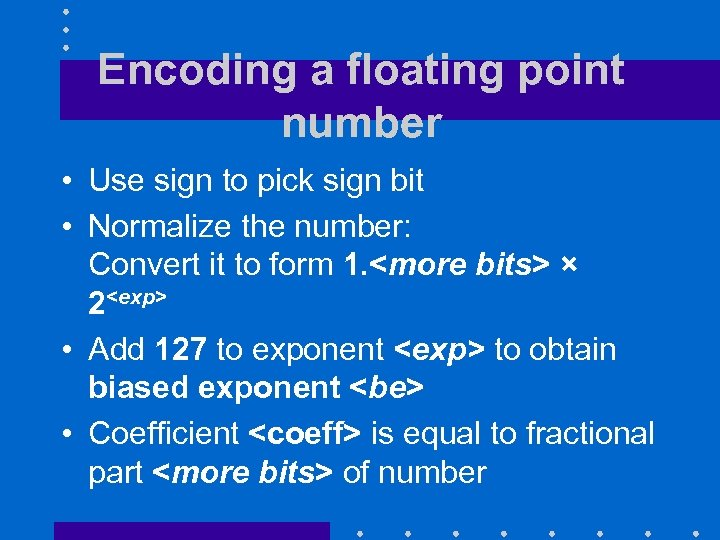 Encoding a floating point number • Use sign to pick sign bit • Normalize