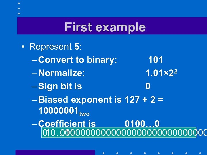 First example • Represent 5: – Convert to binary: 101 – Normalize: 1. 01×