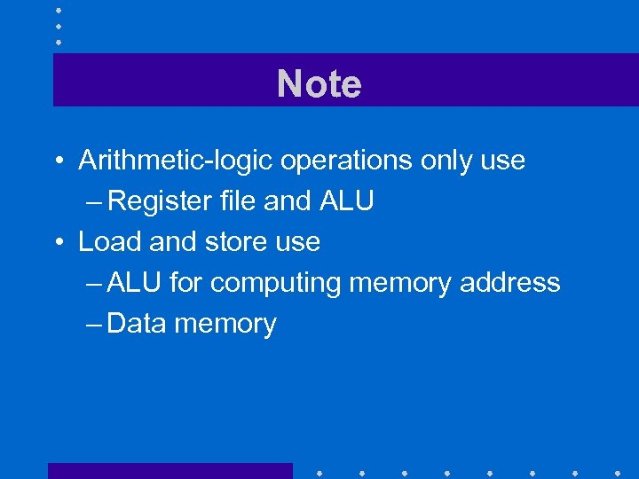 Note • Arithmetic-logic operations only use – Register file and ALU • Load and
