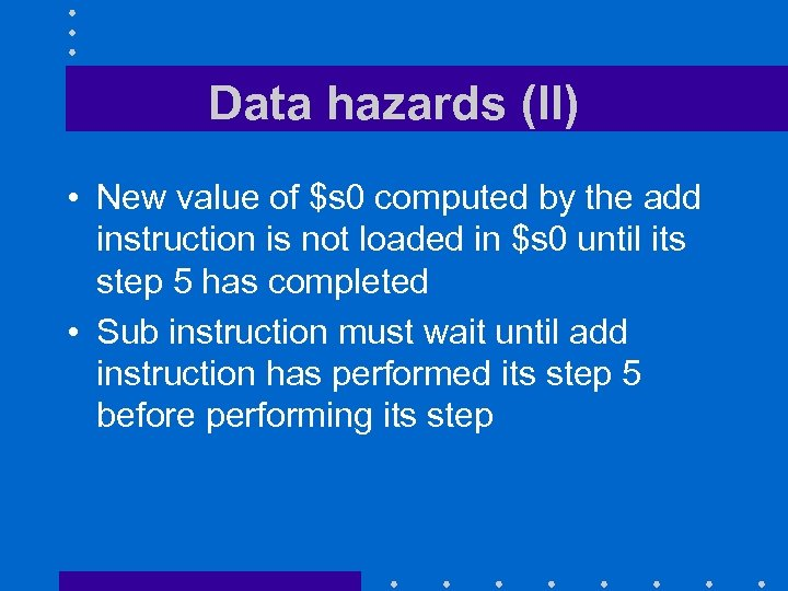 Data hazards (II) • New value of $s 0 computed by the add instruction