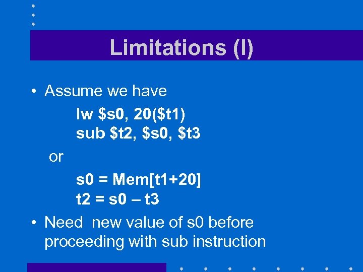 Limitations (I) • Assume we have lw $s 0, 20($t 1) sub $t 2,