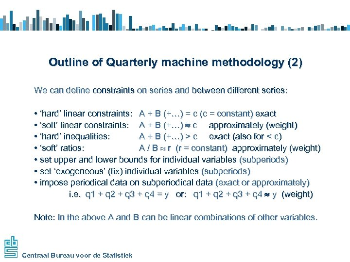 Outline of Quarterly machine methodology (2) We can define constraints on series and between
