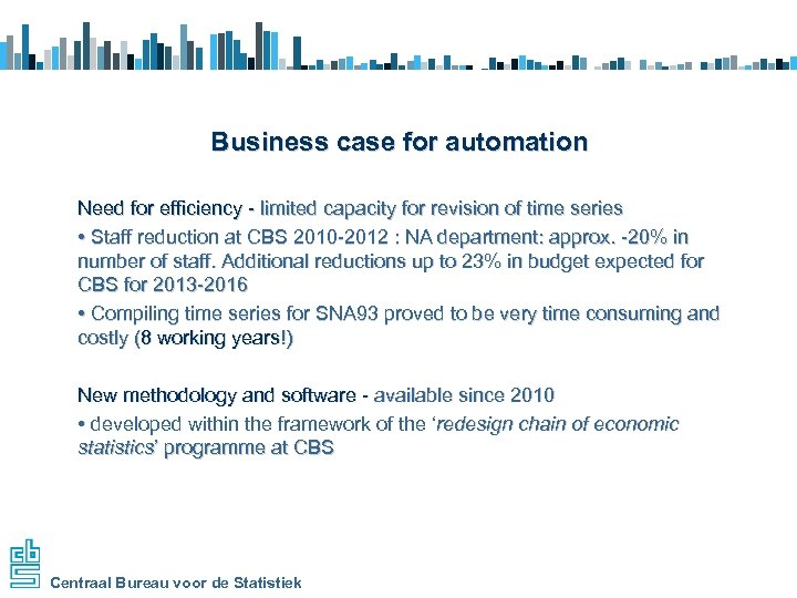 Business case for automation Need for efficiency - limited capacity for revision of time