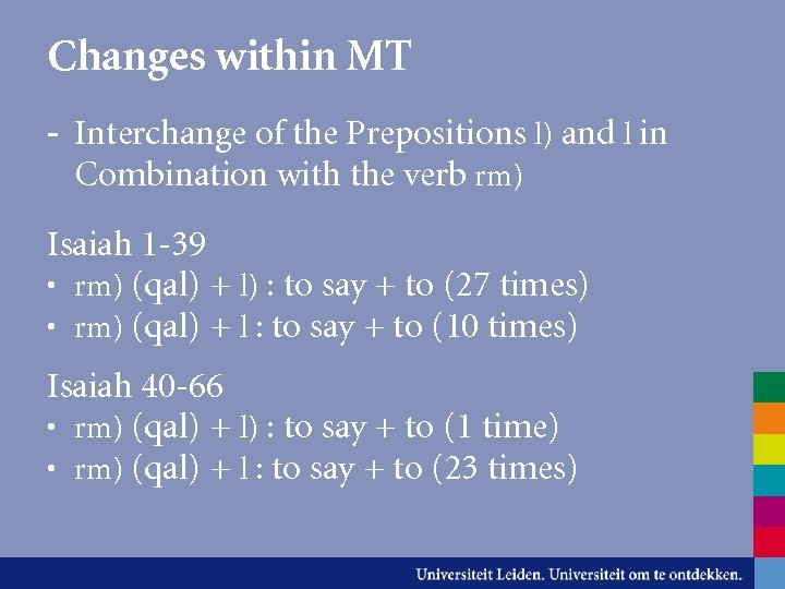 Changes within MT - Interchange of the Prepositions l) and l in Combination with