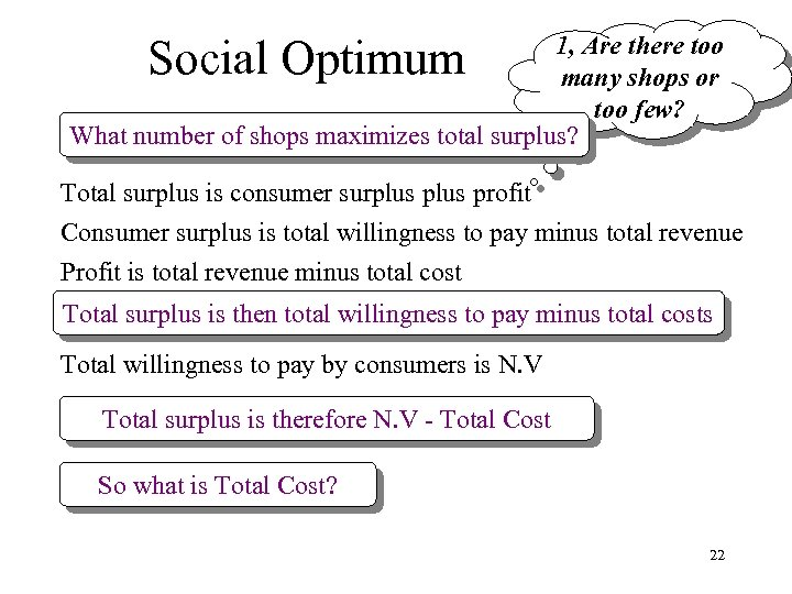 Social Optimum 1, Are there too many shops or too few? What number of
