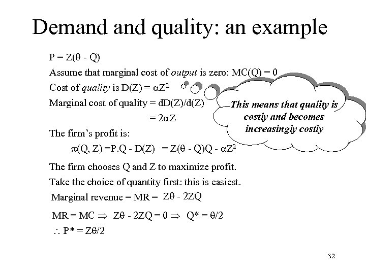 Demand quality: an example P = Z( - Q) Assume that marginal cost of