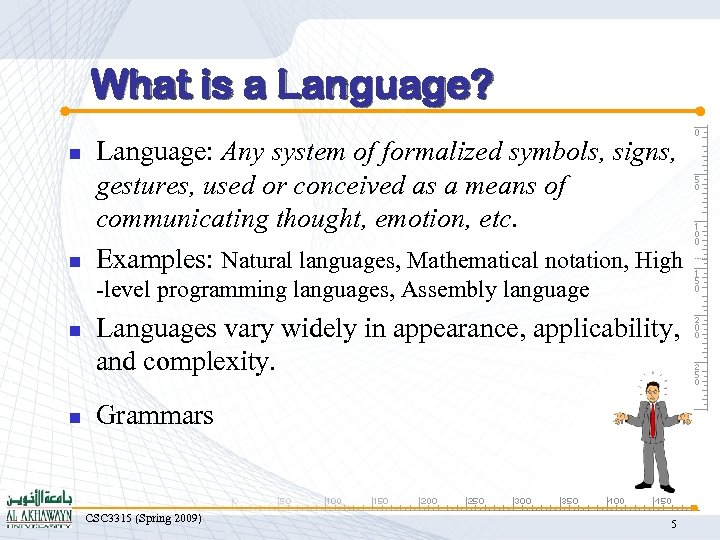 What is a Language? n n Language: Any system of formalized symbols, signs, gestures,
