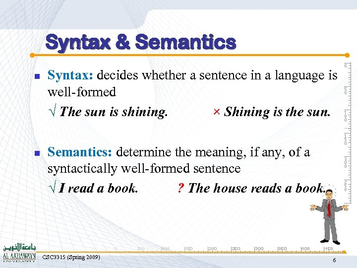Syntax & Semantics n n Syntax: decides whether a sentence in a language is