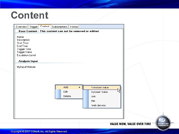 Content Copyright © 2007 OSIsoft, Inc. All Rights Reserved