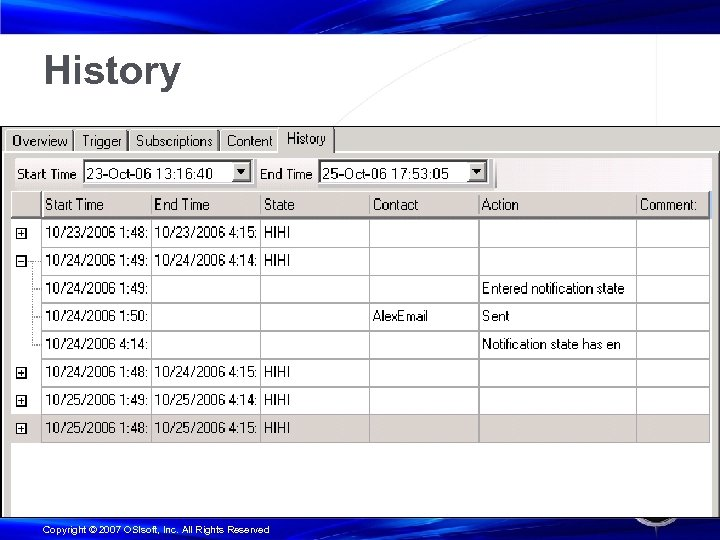 History Copyright © 2007 OSIsoft, Inc. All Rights Reserved