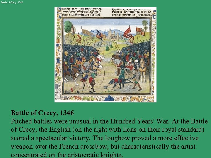 Battle of Crecy, 1346 Pitched battles were unusual in the Hundred Years' War. At