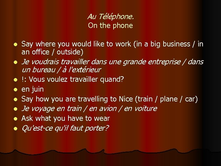 Au Téléphone. On the phone l Say where you would like to work (in