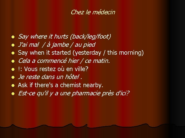 Chez le médecin l Say where it hurts (back/leg/foot) J'ai mal / à jambe