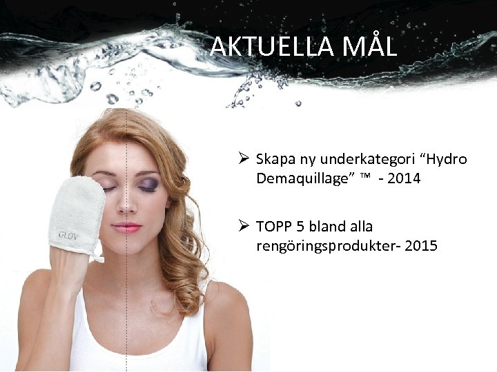 """AKTUELLA MÅL Ø Skapa ny underkategori """"Hydro Demaquillage"""" ™ - 2014 Ø TOPP 5"""