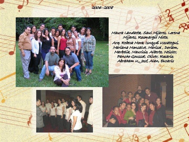 2006 -2008 Maura Landaeta, Saul Mijares, Lorena Mijares, Rosmargie Nieto, Arq. Rebeca Mora, Isneydi