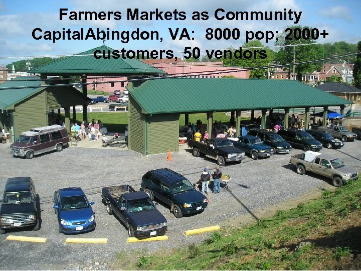 Farmers Markets as Community Capital. Abingdon, VA: 8000 pop; 2000+ customers, 50 vendors