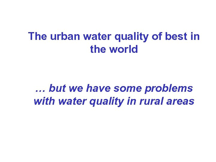 The urban water quality of best in the world … but we have some