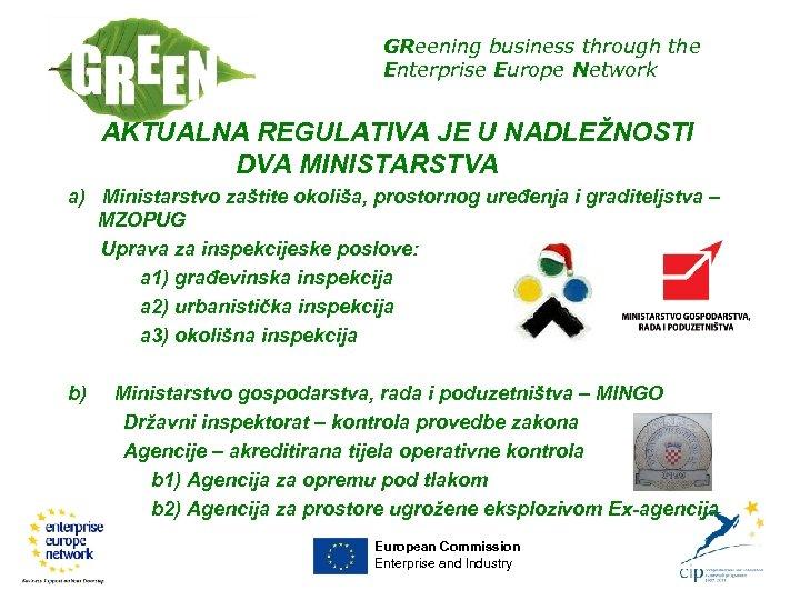 GReening business through the Enterprise Europe Network AKTUALNA REGULATIVA JE U NADLEŽNOSTI DVA MINISTARSTVA