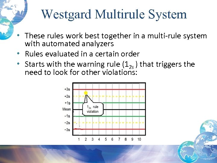 Westgard Multirule System • These rules work best together in a multi-rule system with