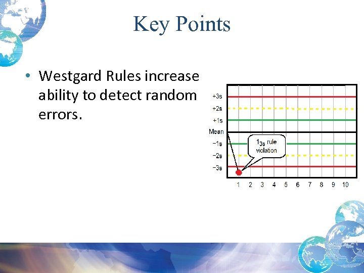 Key Points • Westgard Rules increase ability to detect random errors.