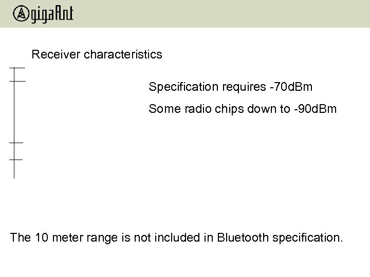 Receiver characteristics Specification requires -70 d. Bm Some radio chips down to -90 d.