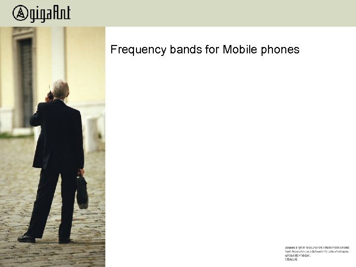 Frequency bands for Mobile phones