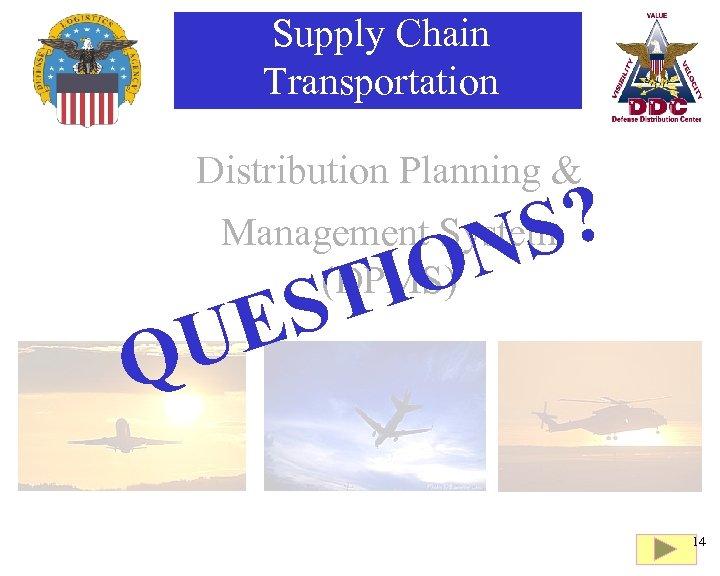 Supply Chain Transportation Distribution Planning & ? S N Management System (DPMS) E U