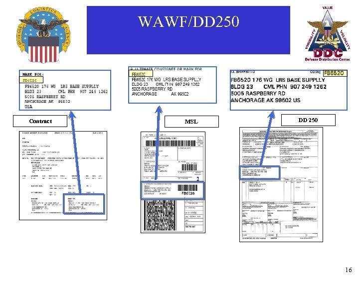 WAWF/DD 250 Contract MSL DD 250 16