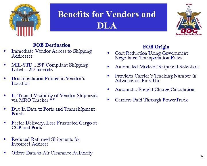 Benefits for Vendors and DLA • FOB Destination Immediate Vendor Access to Shipping Addresses