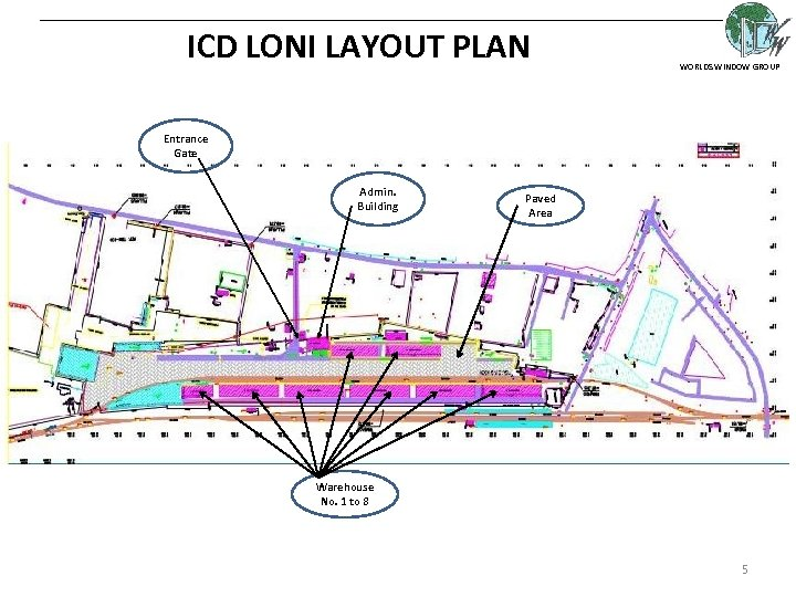 ICD LONI LAYOUT PLAN WORLDS WINDOW GROUP Entrance Gate Admin. Building Paved Area Warehouse