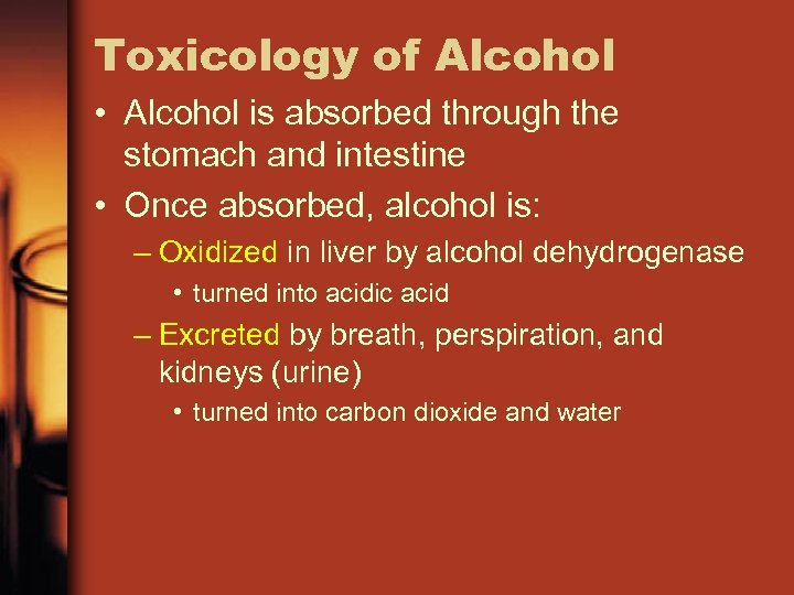 Toxicology of Alcohol • Alcohol is absorbed through the stomach and intestine • Once