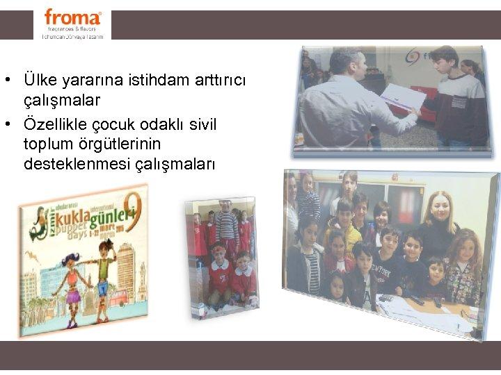 • Ülke yararına istihdam arttırıcı çalışmalar • Özellikle çocuk odaklı sivil toplum örgütlerinin