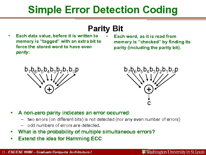 Simple Error Detection Coding Parity Bit • Each data value, before it is written