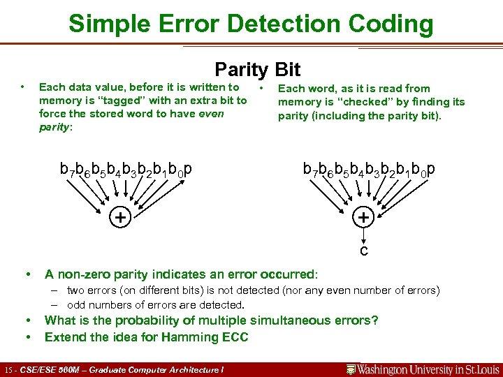 Simple Error Detection Coding Parity Bit • Each data value, before it is written