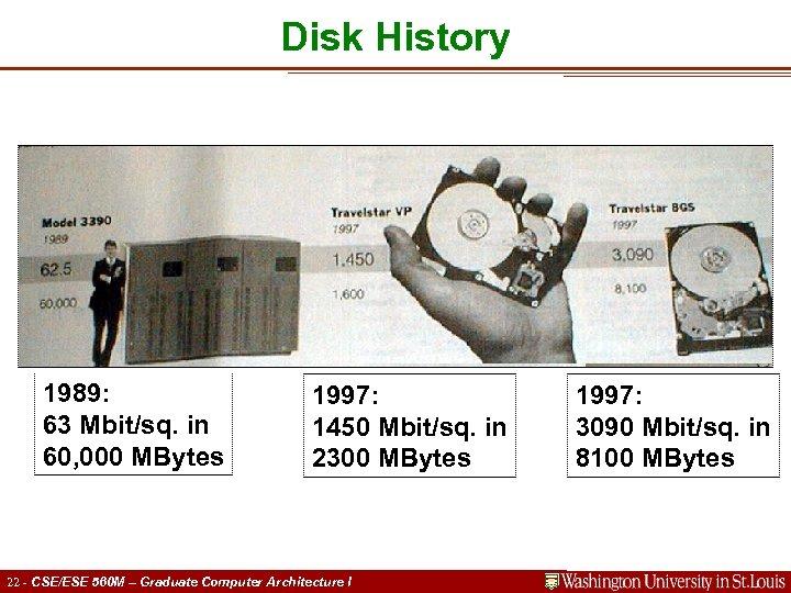 Disk History 1989: 63 Mbit/sq. in 60, 000 MBytes 1997: 1450 Mbit/sq. in 2300