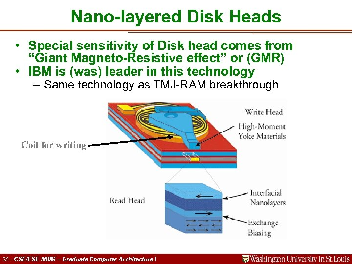 """Nano-layered Disk Heads • Special sensitivity of Disk head comes from """"Giant Magneto-Resistive effect"""""""