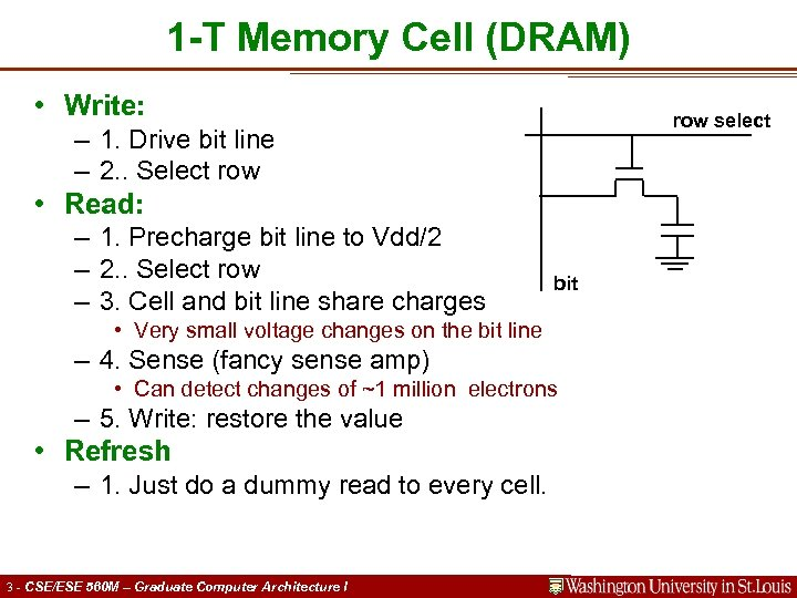 1 -T Memory Cell (DRAM) • Write: row select – 1. Drive bit line
