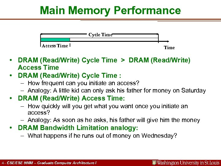 Main Memory Performance Cycle Time Access Time • DRAM (Read/Write) Cycle Time > DRAM