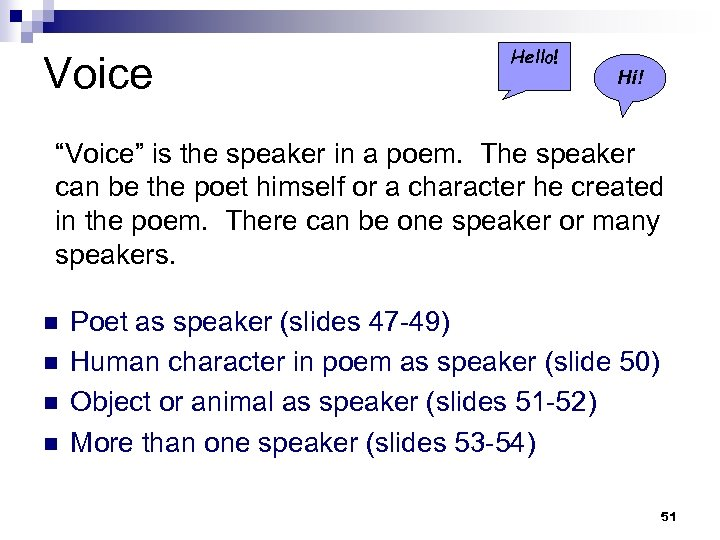 "Voice Hello! Hi! ""Voice"" is the speaker in a poem. The speaker can be"