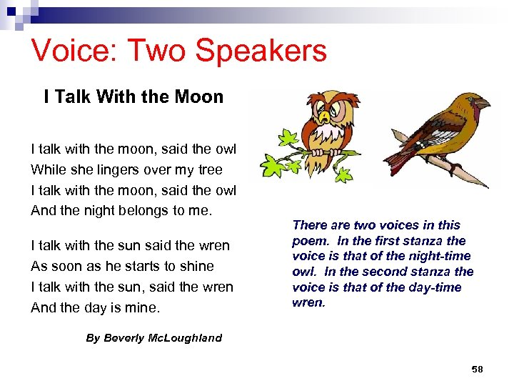 Voice: Two Speakers I Talk With the Moon I talk with the moon, said