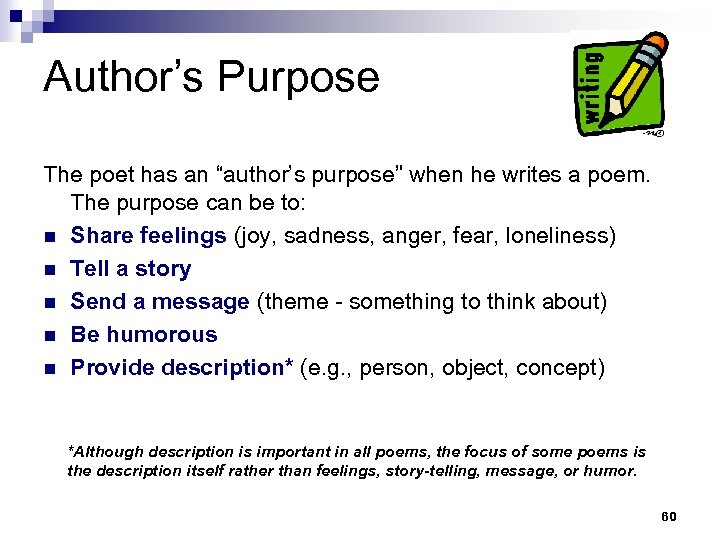 "Author's Purpose The poet has an ""author's purpose"" when he writes a poem. The"