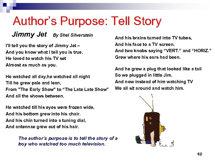 Author's Purpose: Tell Story Jimmy Jet By Shel Silverstein I'll tell you the story