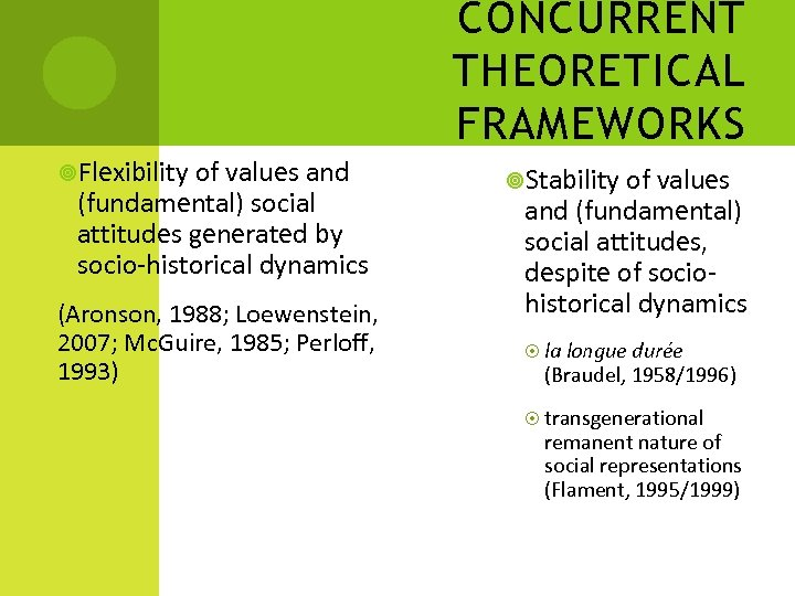 CONCURRENT THEORETICAL FRAMEWORKS Flexibility of values and (fundamental) social attitudes generated by socio-historical dynamics