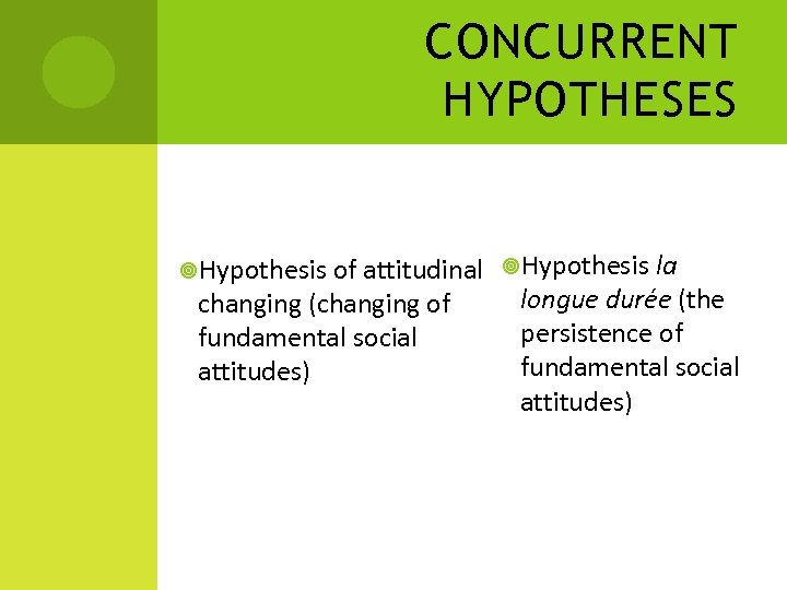 CONCURRENT HYPOTHESES Hypothesis of attitudinal Hypothesis la changing (changing of fundamental social attitudes) longue