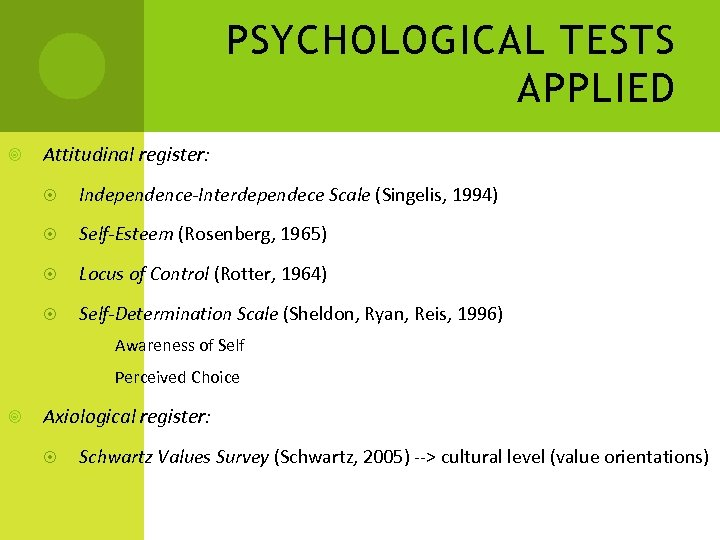 PSYCHOLOGICAL TESTS APPLIED Attitudinal register: Independence-Interdependece Scale (Singelis, 1994) Self-Esteem (Rosenberg, 1965) Locus of