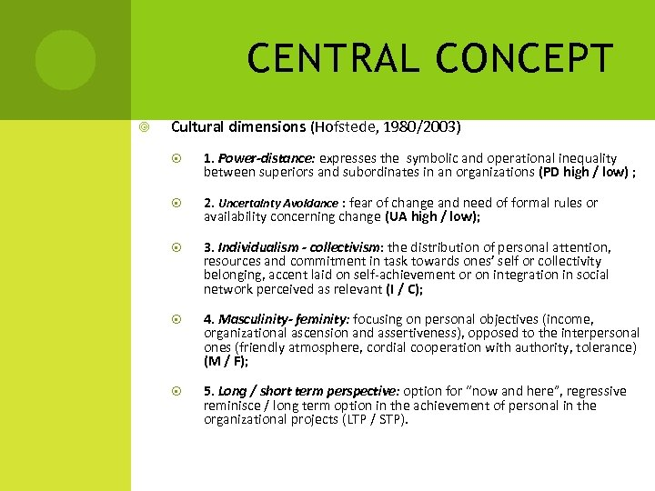 CENTRAL CONCEPT Cultural dimensions (Hofstede, 1980/2003) 1. Power-distance: expresses the symbolic and operational inequality