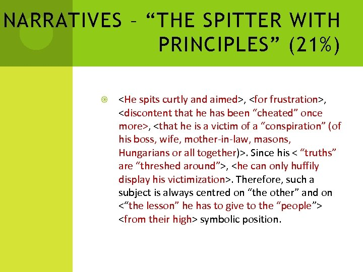 """NARRATIVES – """"THE SPITTER WITH PRINCIPLES"""" (21%) <He spits curtly and aimed>, <for frustration>,"""