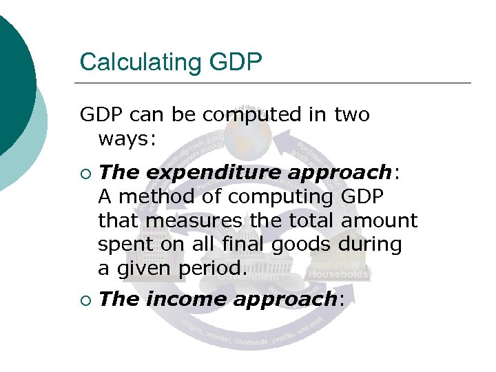 Calculating GDP can be computed in two ways: ¡ ¡ The expenditure approach: A