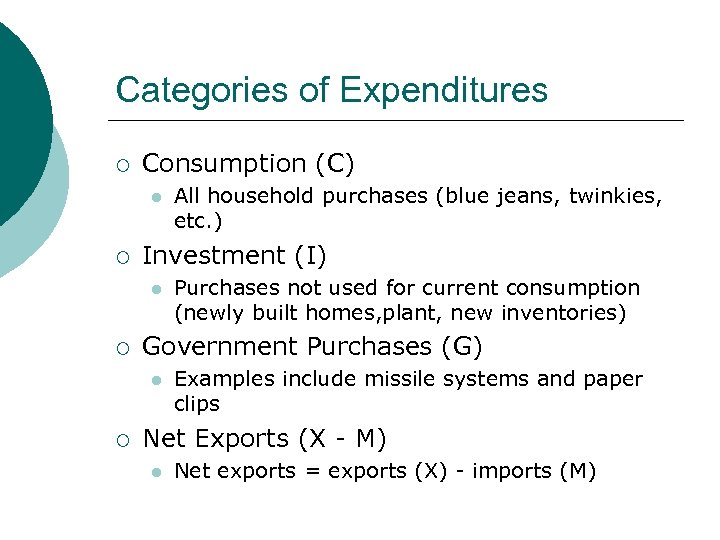 Categories of Expenditures ¡ Consumption (C) l ¡ Investment (I) l ¡ Purchases not
