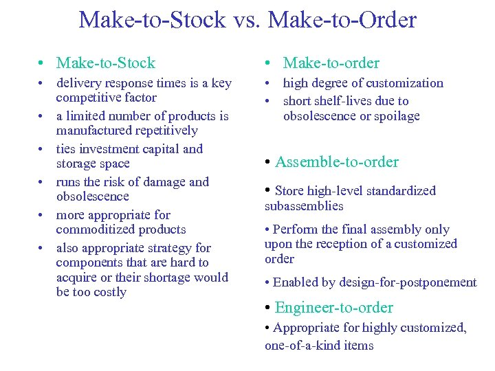 Make-to-Stock vs. Make-to-Order • Make-to-Stock • Make-to-order • delivery response times is a key